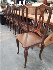 Sale 8666 - Lot 1096 - Set of Ten Louis XV Style Oak Dining Chairs, with pierced splats, timber seats & turned legs with X shaped stretchers