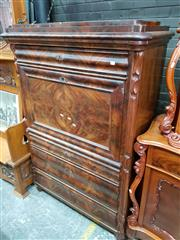 Sale 8728 - Lot 1054 - Late 19th Century French Mahogany Bureau Abattant, the drop-front enclosing a long drawer with balcony style balustrade, above a doo...