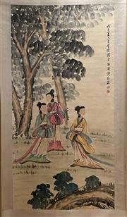 Sale 8951S - Lot 2 - Chinese Scroll featuring Three Ladies in a Garden, Ink and Colour on Paper