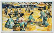 Sale 9045 - Lot 2043 - South East Asian School - Market Scene, c1960s 69 x 119.5 cm (frame: 79 x 129 x 4 cm)