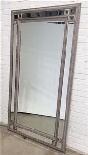 Sale 9080 - Lot 1020 - Large French style bevelled mirror in pressed timber frame (h:216 x w:114cm)