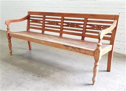 Sale 9102 - Lot 1310 - Teak garden bench (h:85 x w:217 x d:45cm)