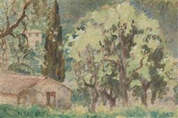 Sale 9161 - Lot 522 - RUPERT BUNNY (1864 - 1947) Farm Building, South of France oil on panel 15 x 23 cm (frame: 35 x 42 x 3 cm) unsigned, certified by The...