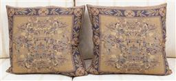 Sale 9155H - Lot 101 - A pair of French downfilled cushions with Fleur De Lys motif 45x45cm