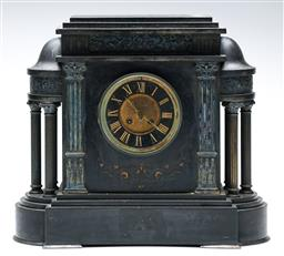 Sale 9215 - Lot 1009 - Late 19th Century French Black Slate Mantle Clock, of architectural with applied brass columns & figural architrave, flanked by colu...