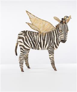 Sale 9221JM - Lot 5002 - MARALYN NASH Zebra, 1995 mixed media sculpture h.61, l.50 x w.16 cm signed and dated to rear