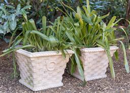 Sale 9248H - Lot 250 - A pair of white stoneware pots  height 34 x 39cm