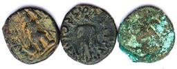 Sale 9253 - Lot 425 - Three Roman bronze coins, as found with wear