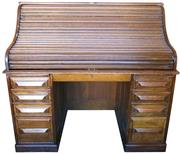 Sale 8258A - Lot 97 - Cutler roll top desk Circa 1890 in excellent condition, original but patinated finish, RRP $4,500, W137m x D80cm x H127cm, kneehole...