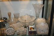 Sale 8269 - Lot 96 - Heavy Cut Crystal Bowl & Cut Crystal Wares incl Trays Some Loses