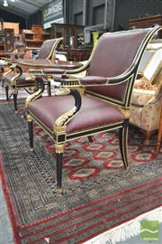 Sale 8282 - Lot 1059 - Pair of Empire Style Ebonised & Gilt Armchairs, with bird head terminals & red ostrich leather upholstery, ex Coco Living
