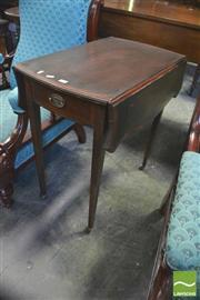 Sale 8390 - Lot 1043 - Edwardian Mahogany Pembroke Table, with cross-banding, single drawer & tapering legs with castors