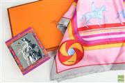 Sale 8481 - Lot 54 - Hermes Marquis De Lafayette Scarf, With horse design on a pink field, in original box and purchase receiptCondition- Excellent- as n...