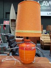 Sale 8476 - Lot 1019 - Orange Glaze Ceramic Lamp