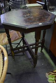 Sale 8532 - Lot 1163 - Octagonal Occassional Table With Turned Legs On Castors