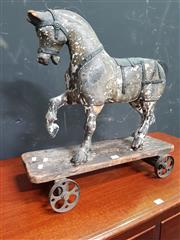 Sale 8672 - Lot 1007 - Vintage Timber Rolling Horse Toy
