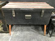 Sale 8817 - Lot 1010 - Metal Trunk Table on Timber Legs
