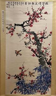 Sale 8951S - Lot 3 - Chinese Scroll of Plum Blossoms and Birds, Ink and Colour on Paper