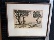 Sale 9036 - Lot 2019 - Ernest E Abott The Distant Range drypoint etching 37 x 44cm (frame) signed lower right