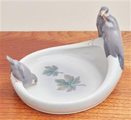 Sale 9099 - Lot 125 - A Royal Copenhagen dish; decorated with finches. Height 16cm x Width 22cm