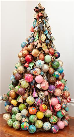 Sale 9134H - Lot 95 - A Parterre Christmas tree exquisitely fashioned from baubles and decorations, Height 117cm