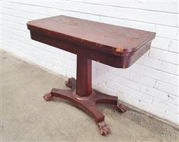 Sale 9134 - Lot 1491 - Antique fold over timber card table, some losses (h77 x w92 x d46cm)