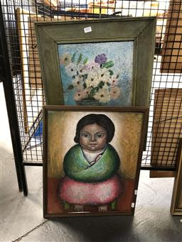 Sale 9147 - Lot 2080 - Artist Unknown (possibly by J O Tajonar) Mother and Child oil on board, and a still life of flowers