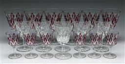 Sale 9164 - Lot 426 - Durand set of six drinking glasses, together with A set of 12 cut glass drinkwares with ruby coloured highlights