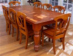 Sale 9190H - Lot 451 - A Nowra pine factory dining table together with a set of eight chairs, table Height 76cm x 214cm x 108cm