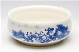 Sale 9253 - Lot 27 - A blue and white ceramic Chinese brush washer featuring children (Dia:20.5cm)