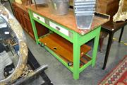 Sale 8129 - Lot 1024 - 2 Drawer Painted Kitchen Cabinet