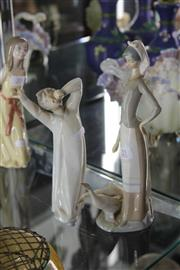 Sale 8189 - Lot 21 - Lladro Figure of a Girl with Geese & Another of a Yawning Boy