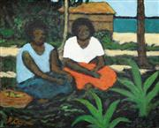 Sale 8266 - Lot 567 - Ray Austin Crooke (1922 - 2015) - Islanders Resting 20 x 25cm