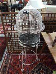 Sale 8563T - Lot 2265 - White Birdcage on Stand