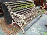 Sale 8634 - Lot 1081 - Unusual Probably Victorian Cast Iron Bench, the branch form frame with receptacles to back and arms possibly for lights & possibly t...