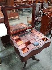 Sale 8728 - Lot 1003 - Rare 19th Century Australian Cedar & Huon Pine Sewing Table, with serpentine hinged top revealing mirror & fitted tray of compartmen...