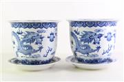 Sale 8948 - Lot 51 - A pair of Blue And White Chinese Ceramic Dragon Vases