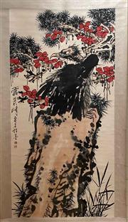 Sale 8951S - Lot 4 - Chinese Scroll featuring Eagle on Rock with Flowers, Ink and Colour On Paper