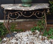 Sale 8976 - Lot 1004 - Wrought Iron Console Table, with serpentine shaped mottled grey marble top, on cabiole legs with scroll flourishes (W: 145cm, D: 50c...