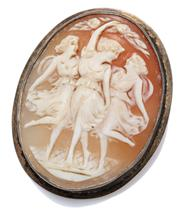 Sale 9037 - Lot 375 - A CARVED SHELL CAMEO BROOCH; featuring the Three Graces set in a silver frame, 37.5 x 30mm.