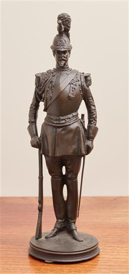 Sale 9099 - Lot 29 - A French bronze figure of a member of Napoleon ls Palace Guard after Emmanuel Fremiet. Height 30cm