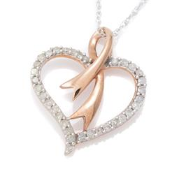 Sale 9132 - Lot 486 - A 10CT GOLD DIAMOND PENDANT NECKLACE; rose gold open heart set with 34 single cut diamonds totalling approx. 0.25ct, size 17 x 20mm,...