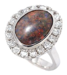 Sale 9177 - Lot 360 - AN 18CT WHITE GOLD OPAL AND DIAMOND RING; set with a 12 x 9.08mm solid treated opal to surround of 18 round brilliant and single cut...