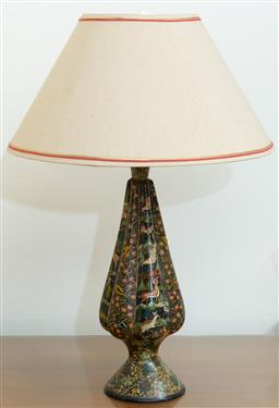 Sale 9164H - Lot 84 - A lacquered lobed baluster lamp, decorated with flora and fauna, total Height 53cm