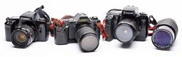 Sale 9170H - Lot 95 - Collection of three vintage cameras including Canon EOS - 5 plus a wide angle lens.