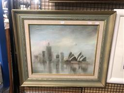 Sale 9176 - Lot 2176 - ANITA NEWMAN, view of Sydney Opera House, oil on board (AF, noticeable puncture), frame: 59 x 69, signed lower left -