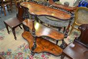 Sale 8093 - Lot 1707 - Victorian Burr Walnut 3 Tiered Whatnot with Fret Work Gallery A/F (107 x 108 x 47cm)