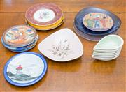 Sale 8402H - Lot 71 - A group of ceramic plates including Japanese, Norwegian, Portuguese, etc. Together with avocado dishes by Martin Boyd.