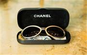 Sale 8448A - Lot 89 - Authentic pair of Chanel Biker/Goggle style sunglasses featuring gun metal polished frame and dark lenses Condition: very good