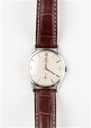 Sale 8770 - Lot 78 - A Vintage Omega Wristwatch; in stainless steel with matte dial subsidiary cross hair seconds, 17 jewel cal. 268 manual movement, cas...